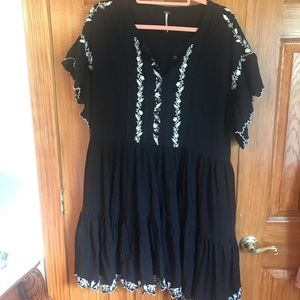 Free People Embroidered Flutter Sleeve Dress